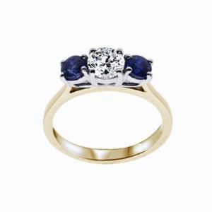 Inverse Sapphire And Round Brilliant Cut Diamond Three Stone Ring - 0.60ct